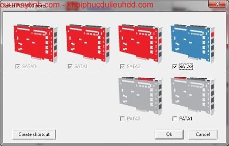 Quá trình lựa chọn cổng vào PC-3000 tốc