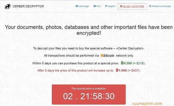 virus  mã hóa dữ liệu cerber