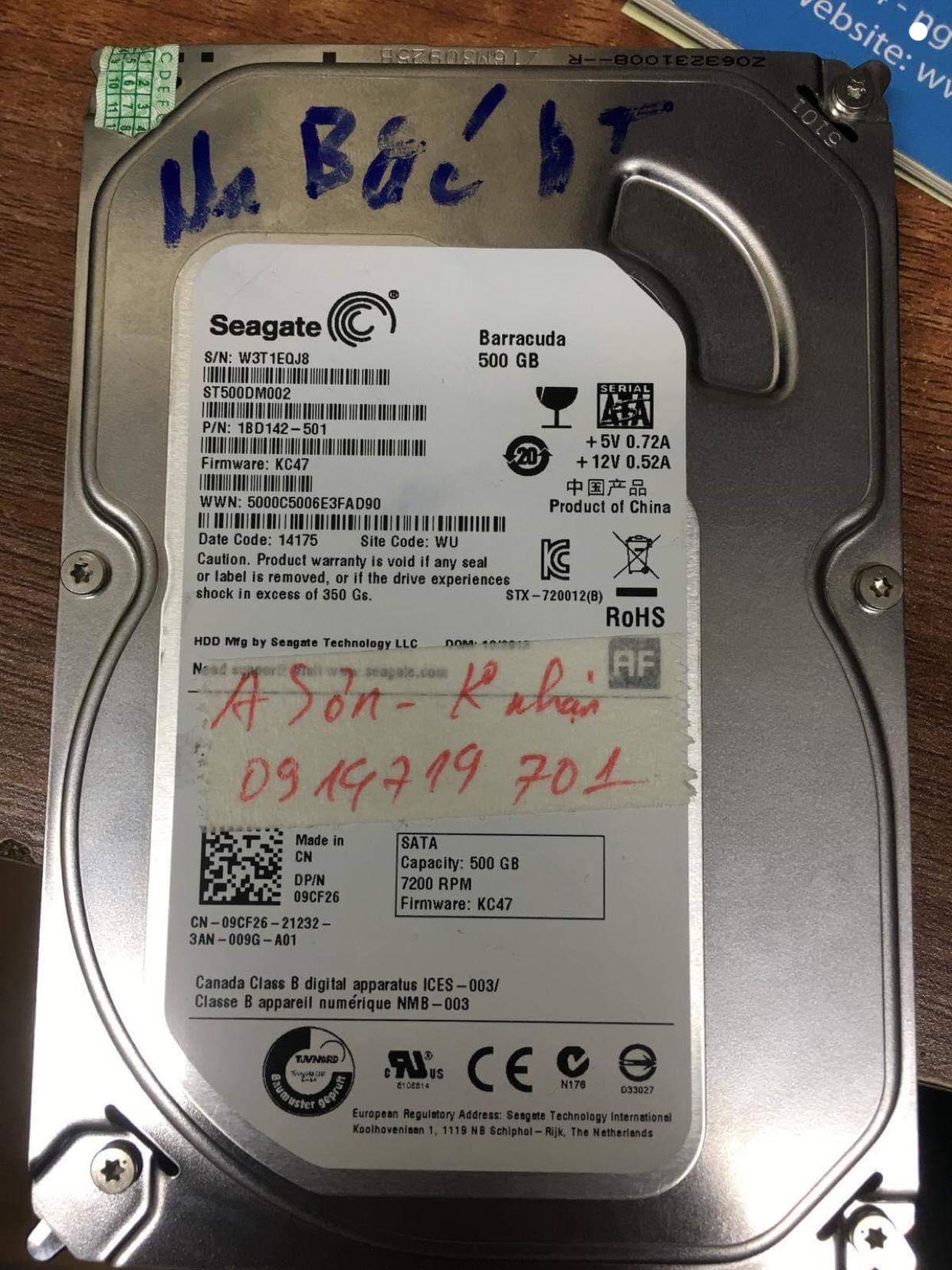 Cứu dữ liệu ổ cứng Seagate 500GB không nhận 09.12.2018 - cuumaytinh.com
