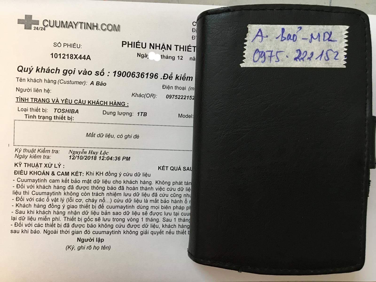 Cứu dữ liệu ổ cứng Toshiba 1TB xóa nhầm, ghi đè 14/12/2018 - cuumaytinh