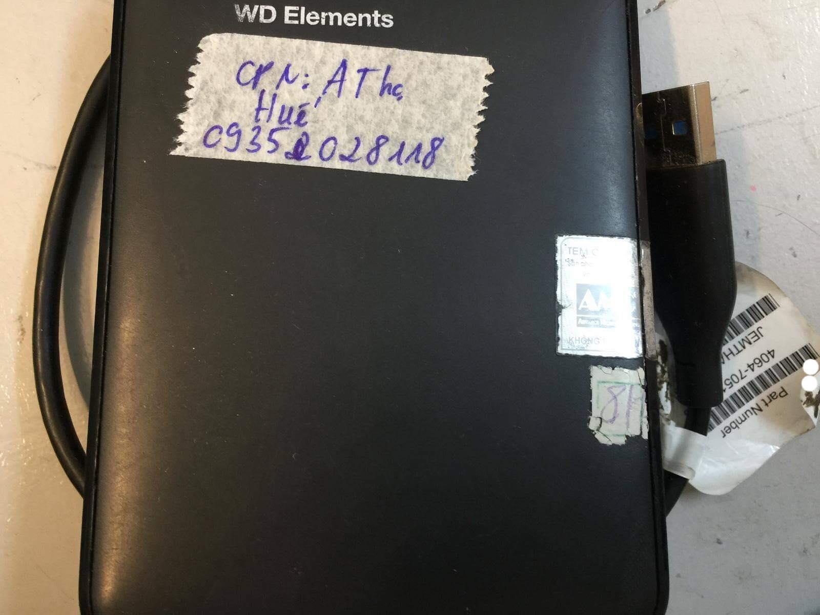 Cứu dữ liệu ổ cứng Western 1TB lỗi cơ tại Huế 15/12/2018 - cuumaytinh