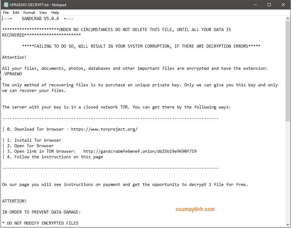 Tin nhắn từ  virus mã hóa dữ liệu Gandcrab - cuumaytinh.com