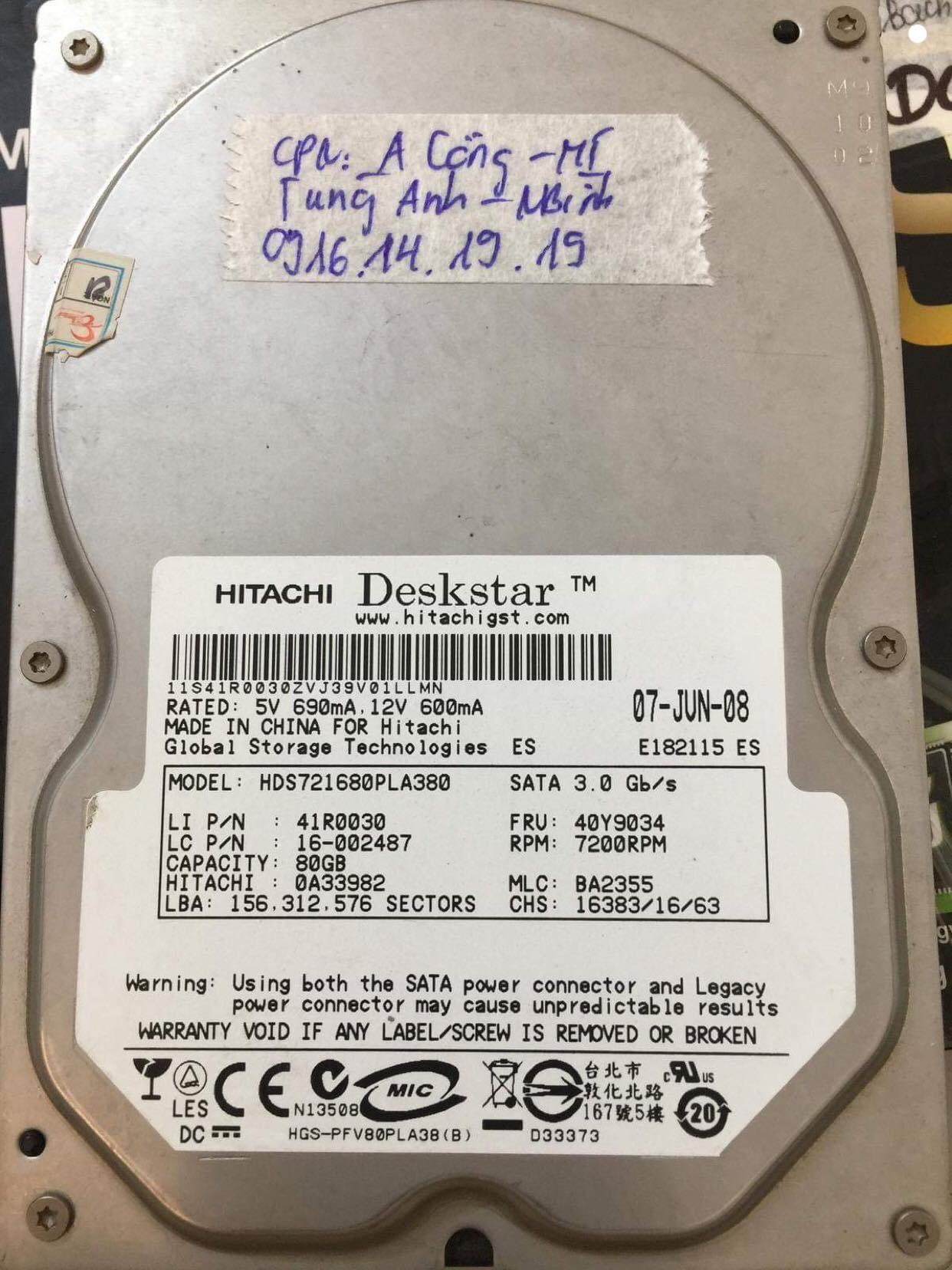 Lấy lại dữ liệu ổ cứng Hitachi 80GB lỗi cơ tại Ninh Bình - 08/12/2018