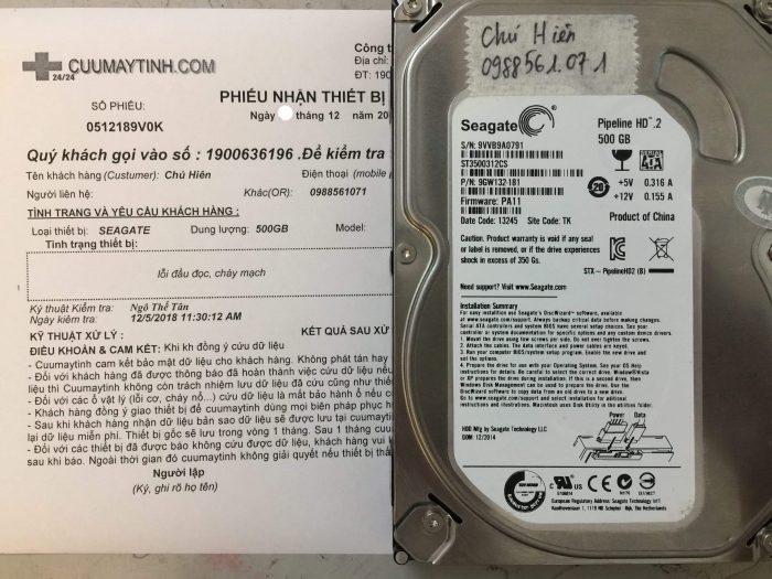 Phục hồi dữ liệu ổ cứng Seagate 500GB lỗi đầu đọc + cháy mạch tại Vĩnh Phúc - cuumaytinh