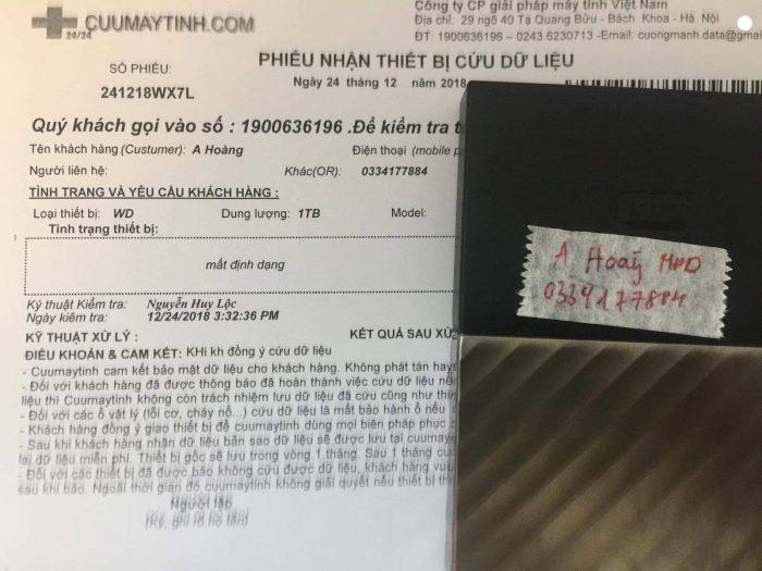 Khôi phục dữ liệu ổ cứng WD My Passport Ultra 1TB mất định dạng 24/12/2018 - cuumaytinh