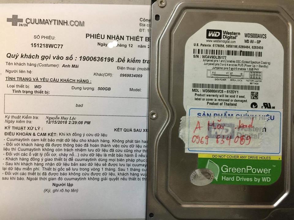 Khôi phục dữ liệu ổ cứng WD 500GB bad 17.12.2018 - cuumaytinh