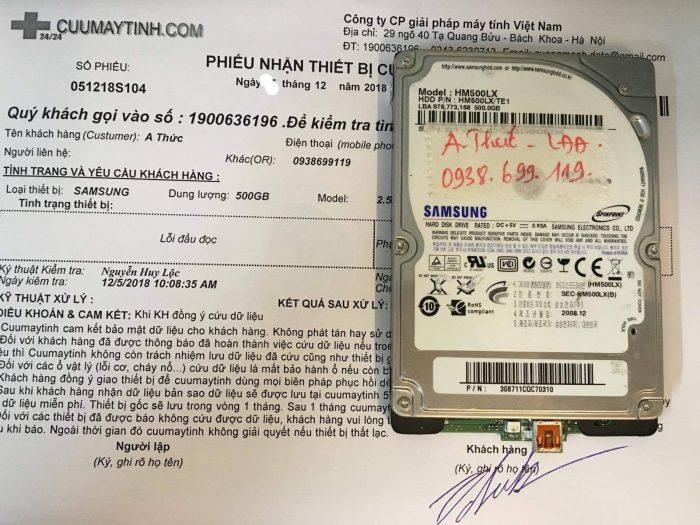 Lấy lại dữ liệu ổ cứng Samsung 500GB lỗi đầu đọc - cuumaytinh.com