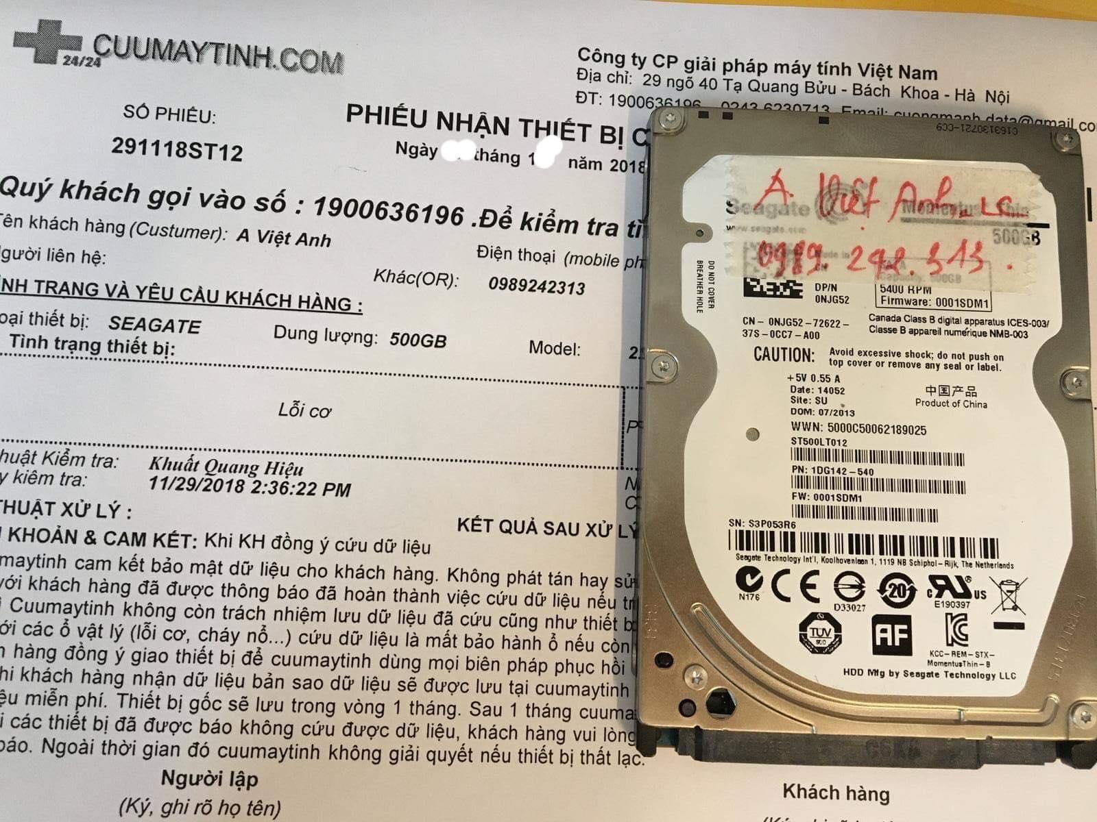 Lấy lại dữ liệu ổ cứng Seagate 500GB lỗi cơ - cuumaytinh