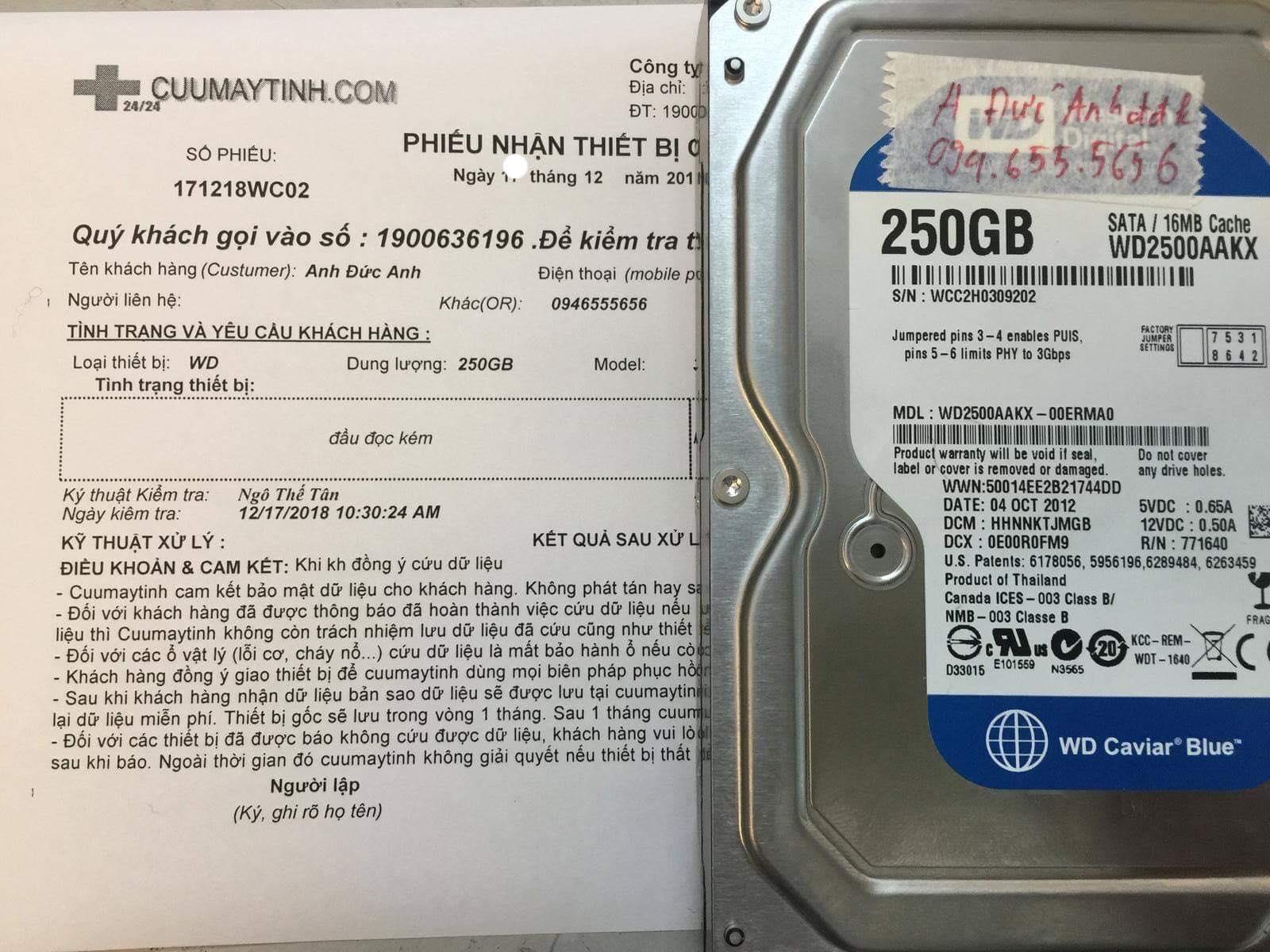 Lấy lại dữ liệu ổ cứng Western 250GB đầu đọc kém 19/12/2018 - cuumaytinh