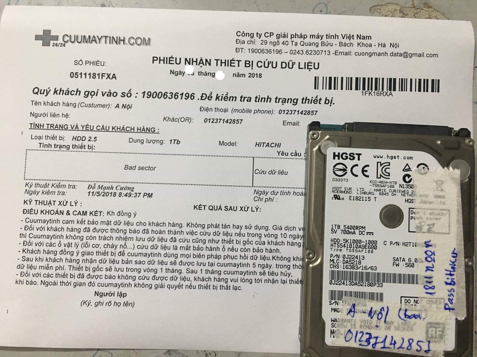 Phục hồi dữ liệu ổ cứng Hitachi 1TB bad  21/12/2018 - cuumaytinh.com
