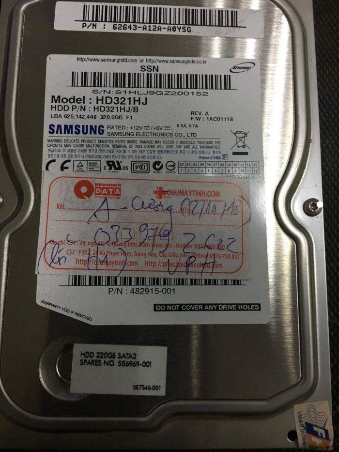 Phục hồi dữ liệu ổ cứng Samsung 320GB đầu đọc kém 20/12/2018 - cuumaytinh