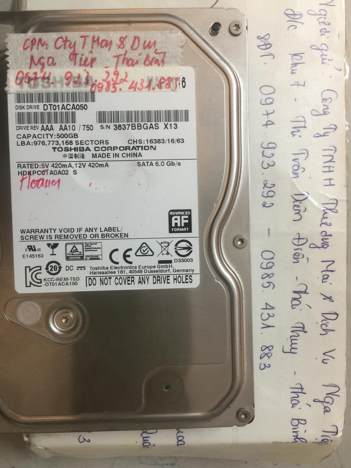 Phục hồi dữ liệu ổ cứng Toshiba 500GB lỗi đầu đọc tại Thái Bình 17/12/2018 - cuumaytinh