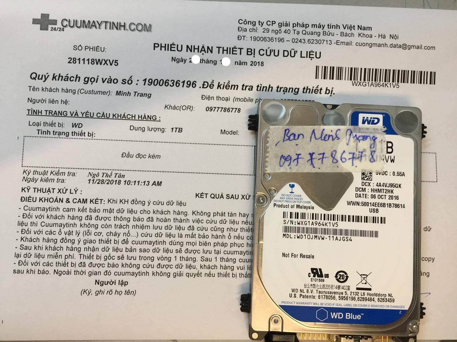 Phục hồi dữ liệu ổ cứng Western 1TB  đầu đọc kém - 07.12