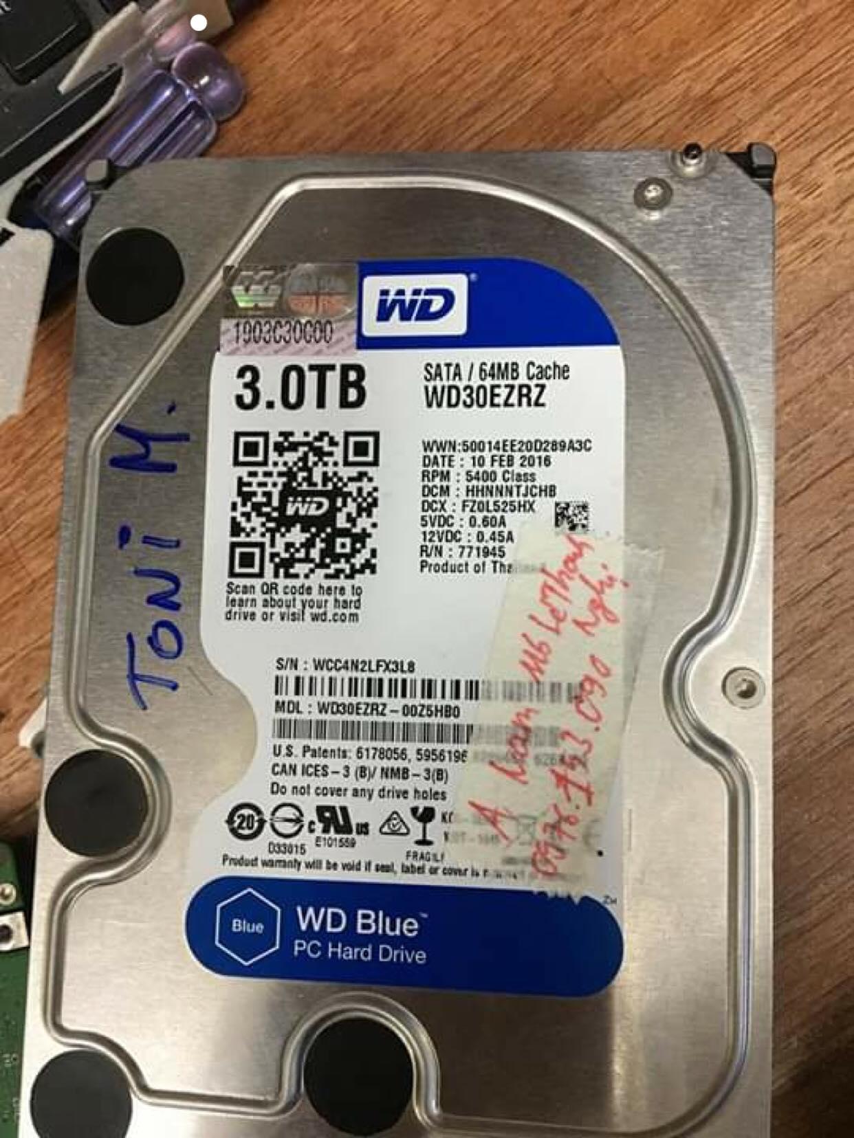 Lấy lại dữ liệu ổ cứng Western 3TB bad nặng 18/12/2018 - cuumaytinh