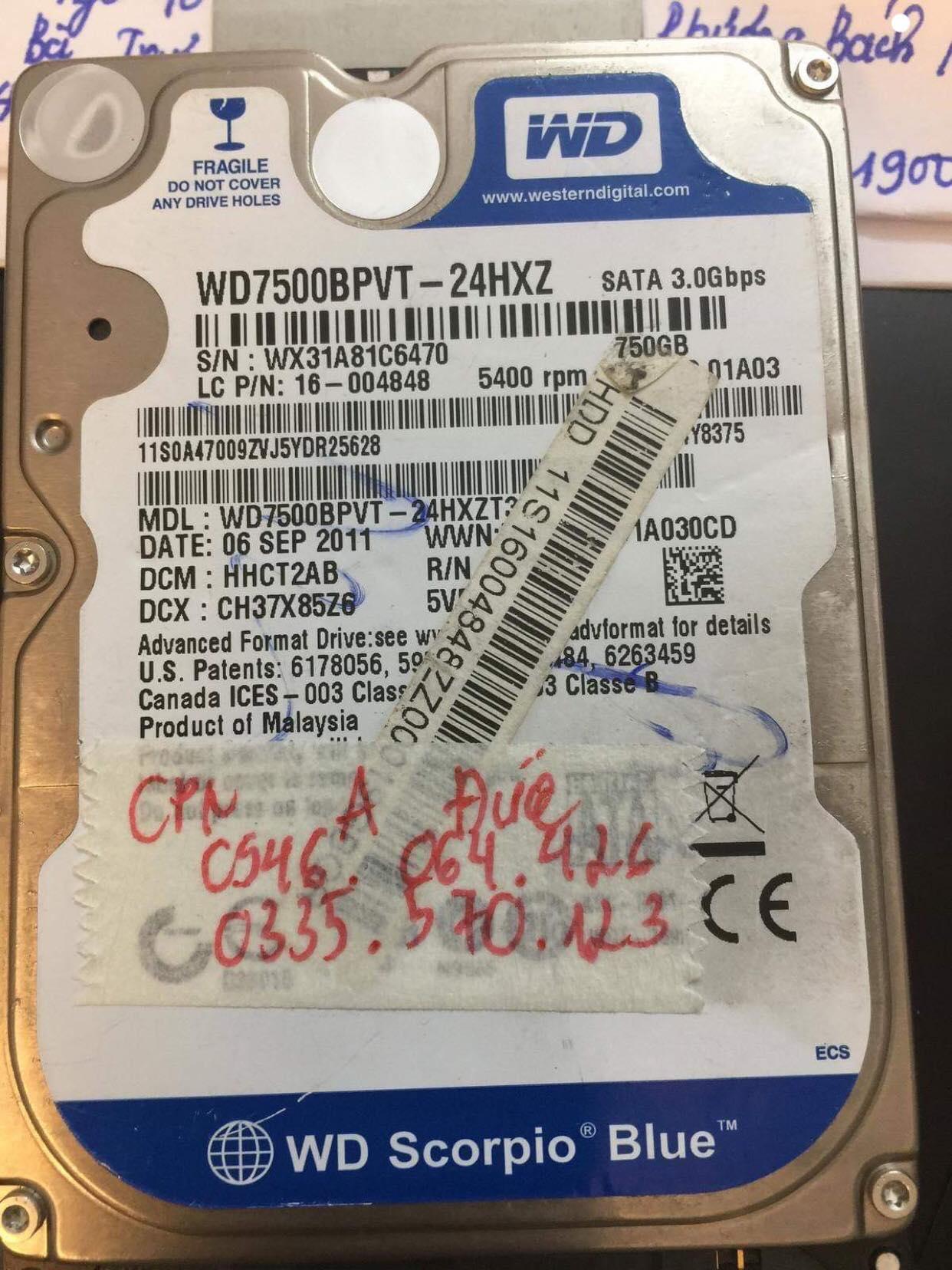 Phục hồi dữ liệu ổ cứng Western 750GB bad 18.12.2018 - cuumaytinh