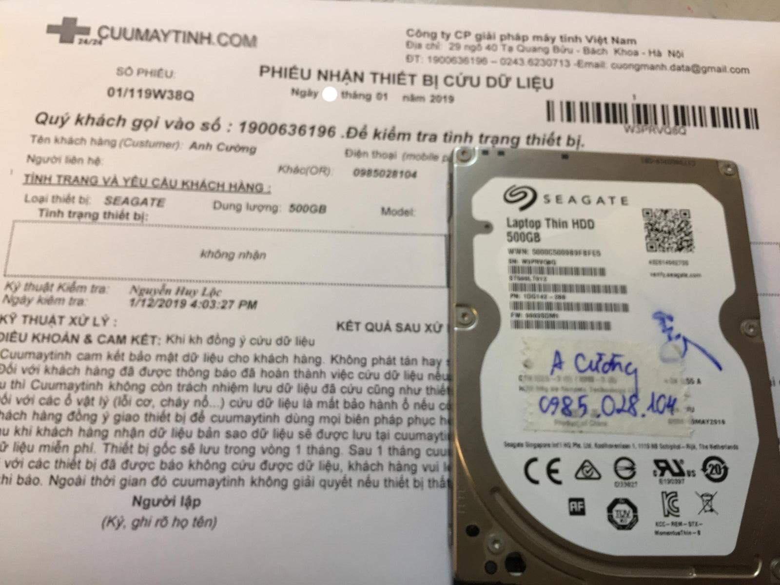 Khôi phục dữ liệu ổ cứng Seagate 500GB không nhận 26/01/2019 - cuumaytinh