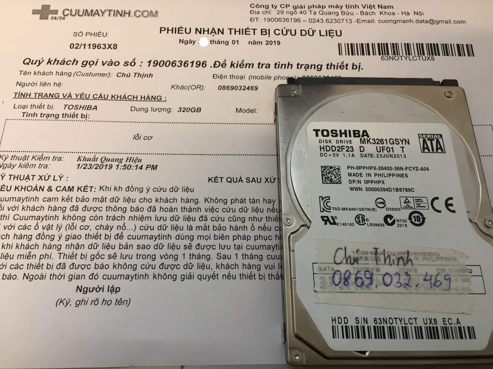 Cứu dữ liệu ổ cứng Toshiba 320GB lỗi cơ  28/01/2019 - cuumaytinh