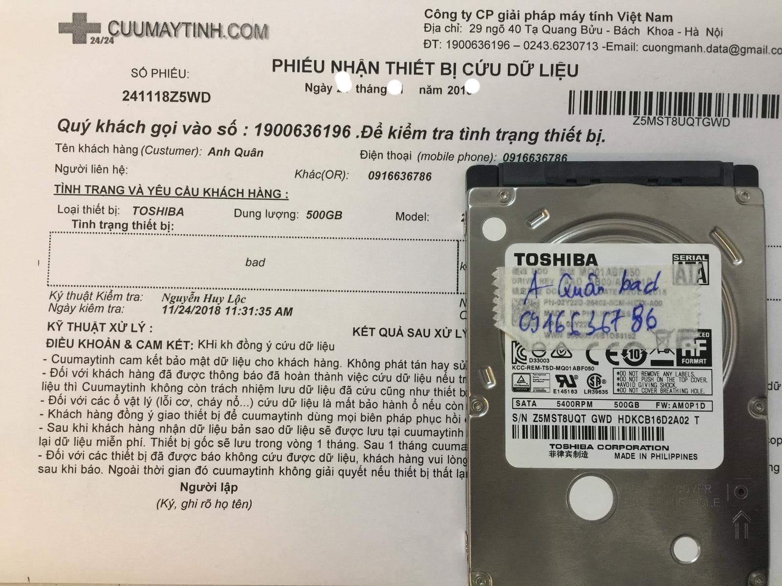 Khôi phục dữ liệu ổ cứng Toshiba 500GB bad 11/01/2019 - cuumaytinh