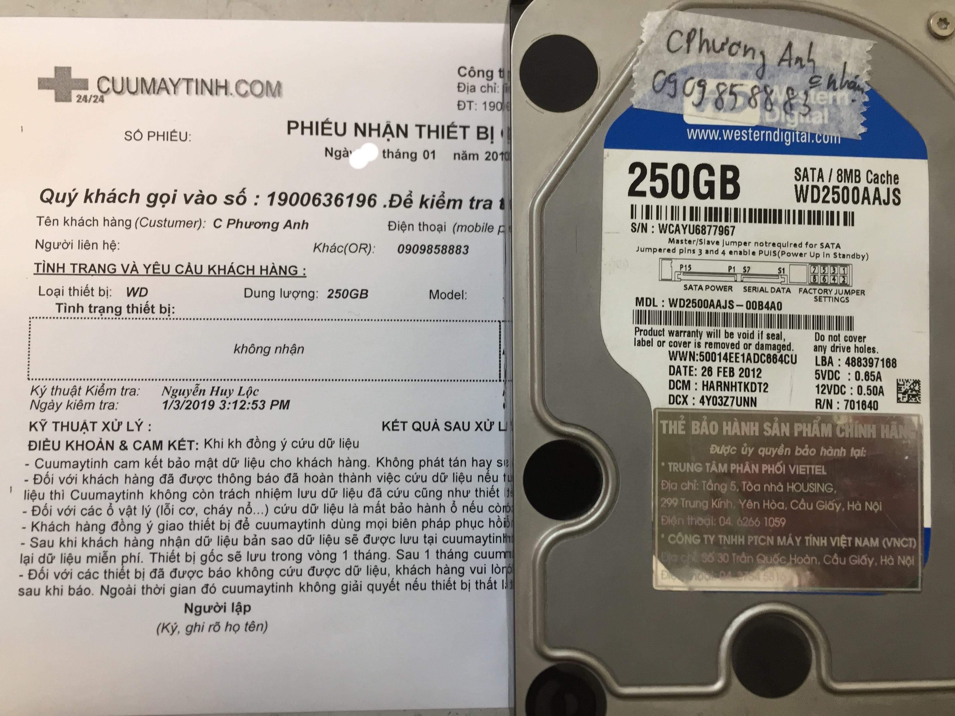 Cứu dữ liệu ổ cứng Western 250GB không nhận 02/01/2019 - cuumaytinh