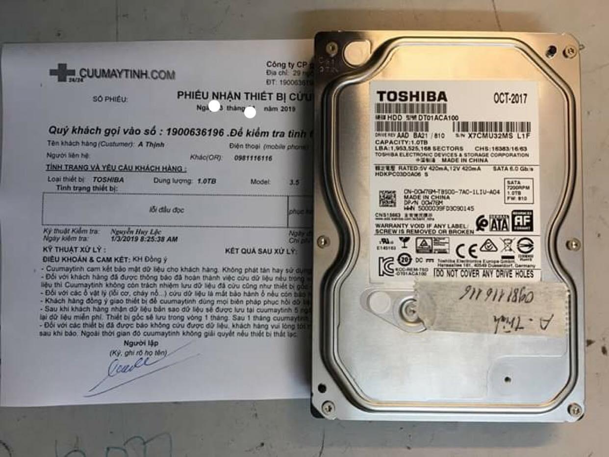 Khôi phục dữ liệu ổ cứng Toshiba 1TB lỗi đầu đọc tại Tuyên Quang 29/12/2018 - cuumaytinh