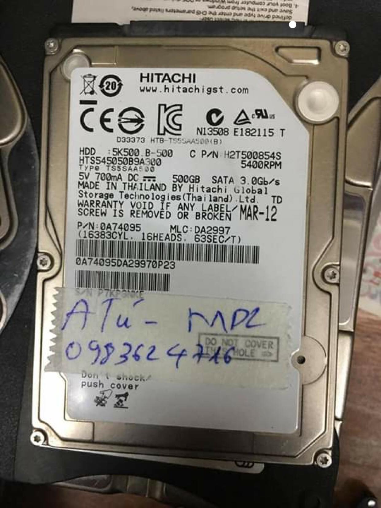 Phục hồi dữ liệu ổ cứng Hitachi 500GB xóa nhầm 28/01/2019 - cuumaytinh