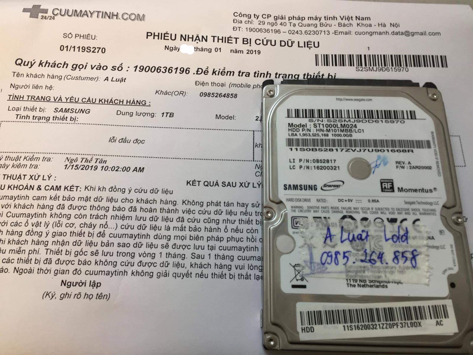 Khôi phục dữ liệu ổ cứng Samsung 1TB lỗi đầu đọc 19/01/2019 - cuumaytinh