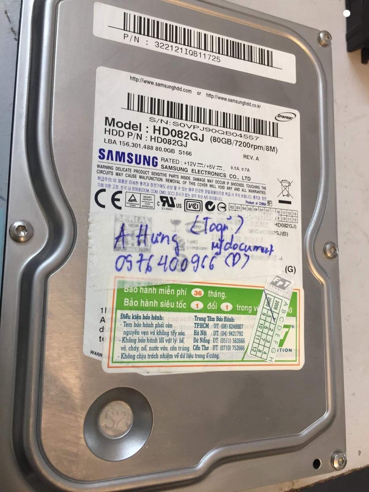 Khôi phục dữ liệu ổ cứng Samsung 80GB format nhầm 24/01/2019 - cuumaytinh