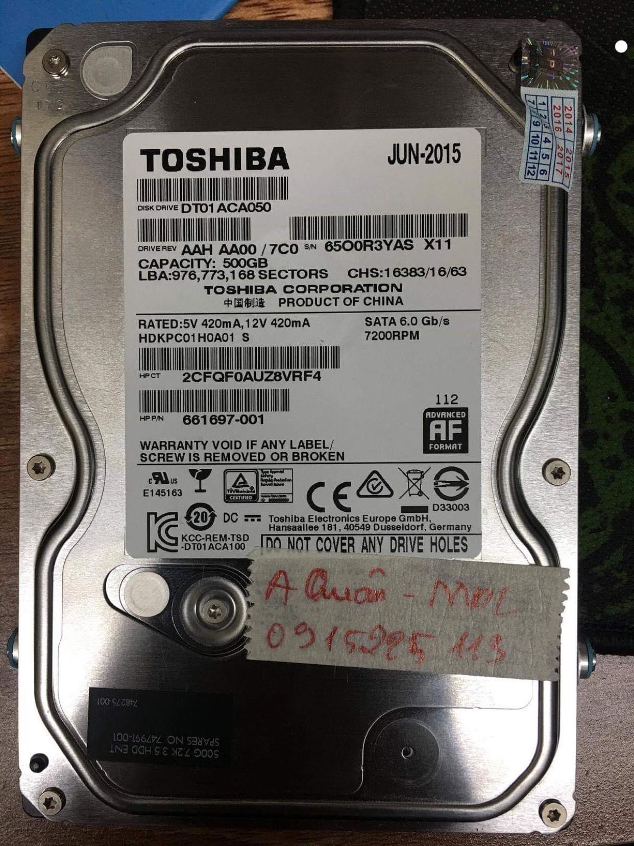 Phục hồi dữ liệu ổ cứng Toshiba 500GB cài win mất dữ liệu 10/01/2019 - cuumaytinh