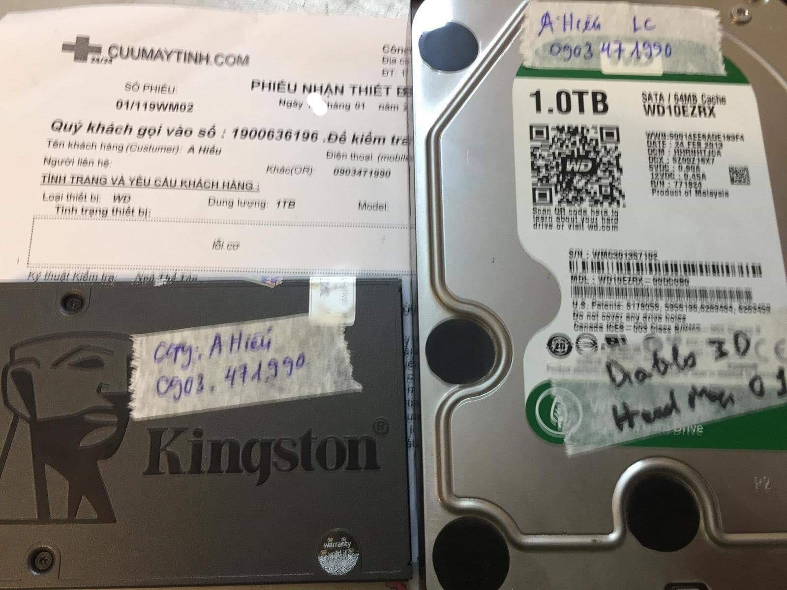 Khôi phục dữ liệu ổ cứng Western 1TB lỗi cơ 15/01/2019 - cuumaytinh