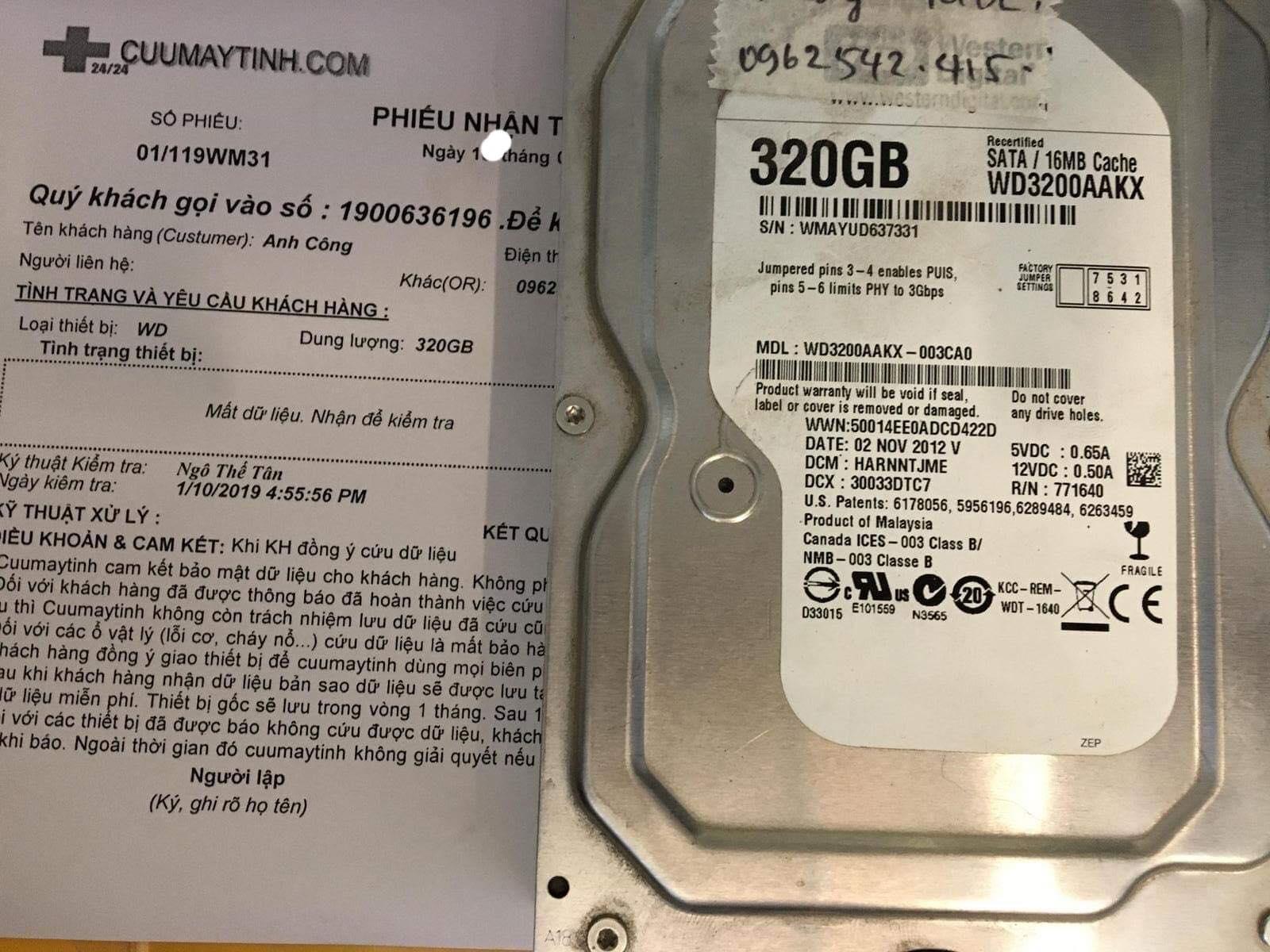 Phục hồi dữ liệu ổ cứng Western 320GB cài win mất dữ liệu 07/01/2019 - cuumaytinh
