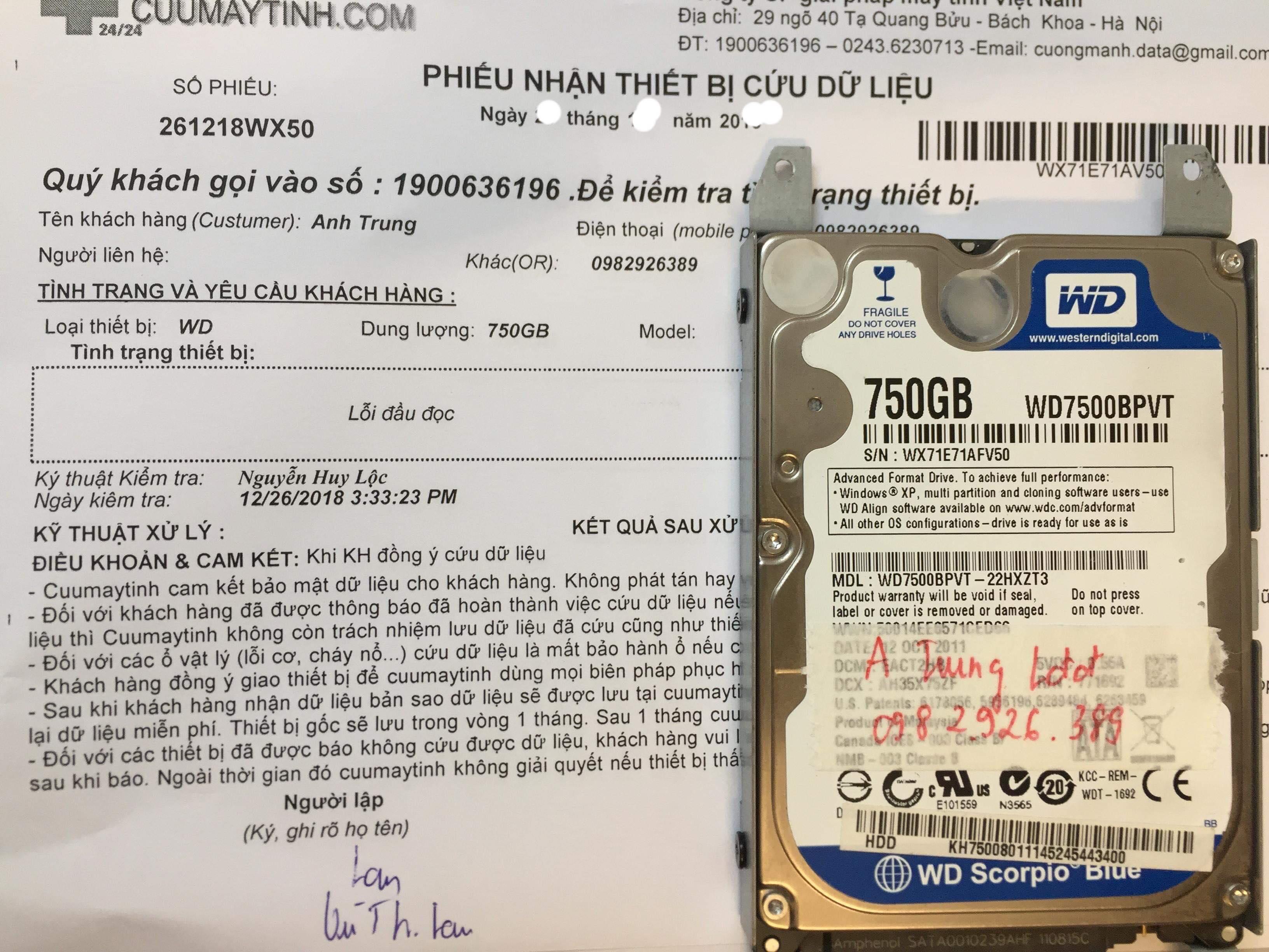 Khôi phục dữ liệu ổ cứng Western 750GB lỗi đầu đọc 21/01/2019 - cuumaytinh