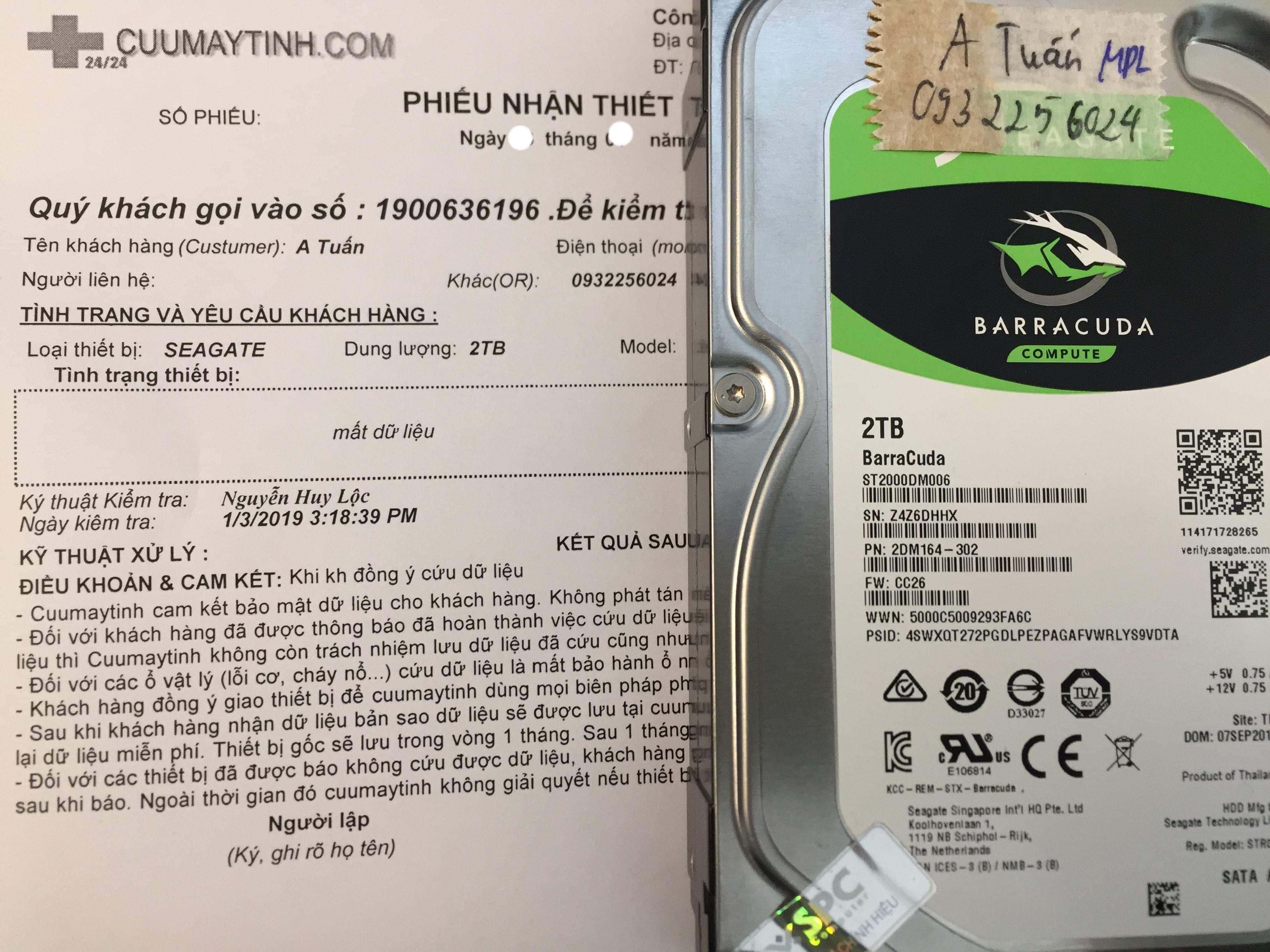 Lấy lại dữ liệu ổ cứng Seagate 2TB format nhầm 29/12/2018 - cuumaytinh