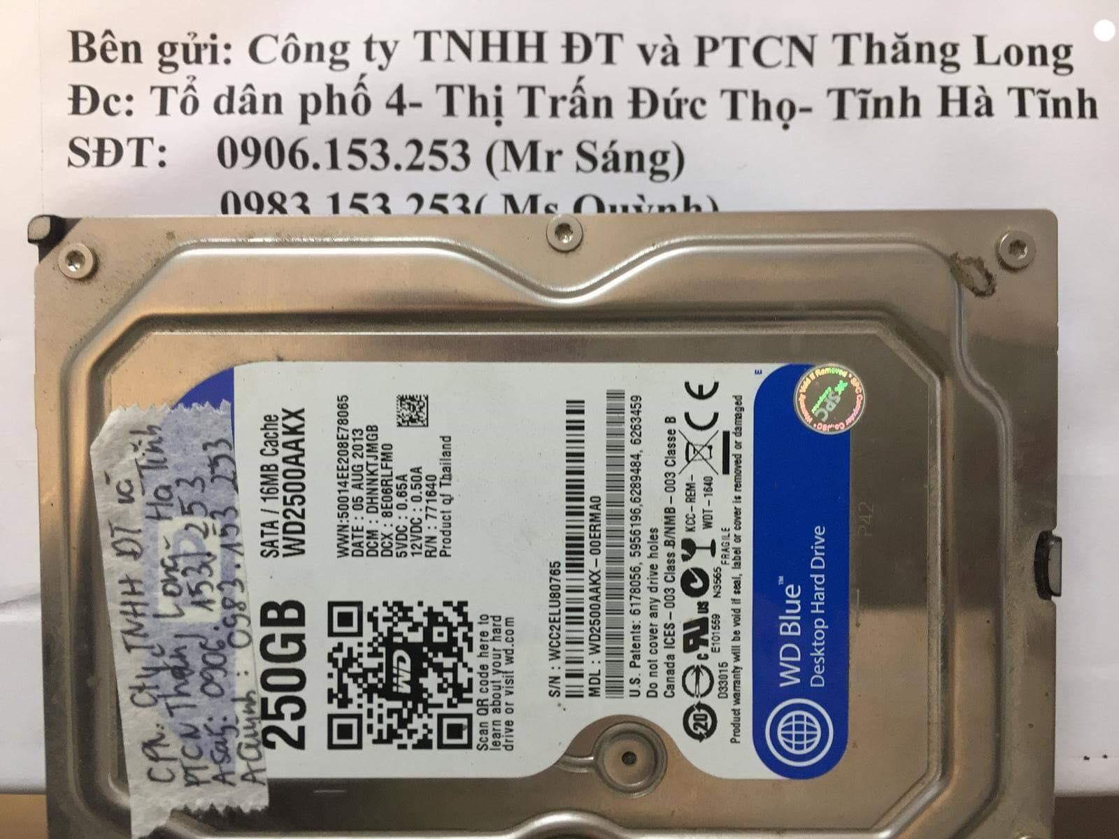 Lấy lại dữ liệu ổ cứng Western 250GB đầu đọc kém tại Hà Tĩnh27/12/2018 - cuumaytinh