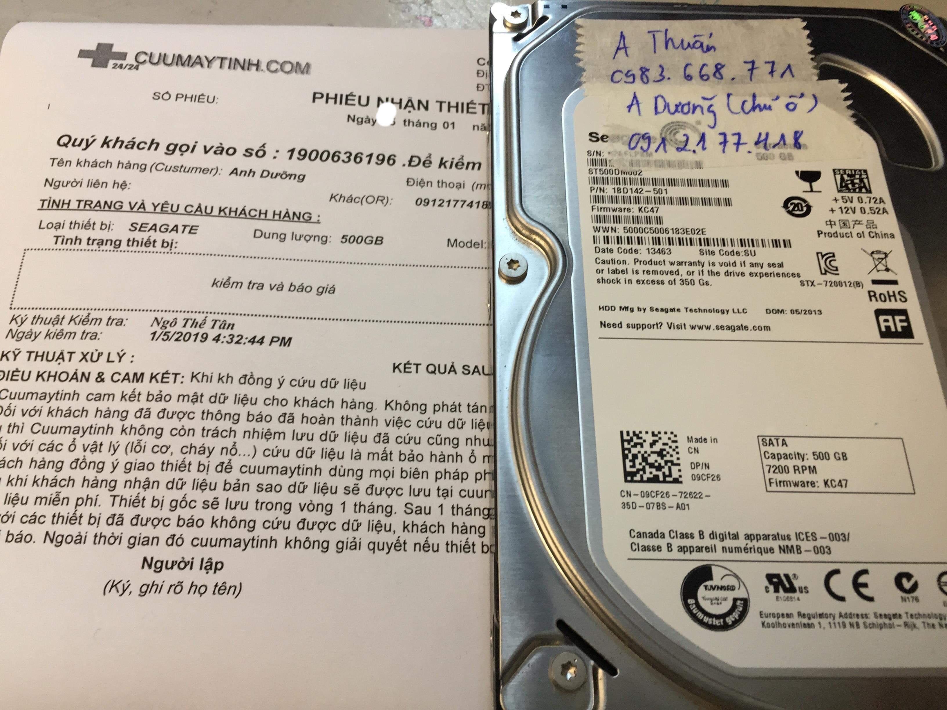 Lấy dữ liệu ổ cứng Seagate 500GB lỗi đầu đọc  22/01/2019 - cuumaytinh