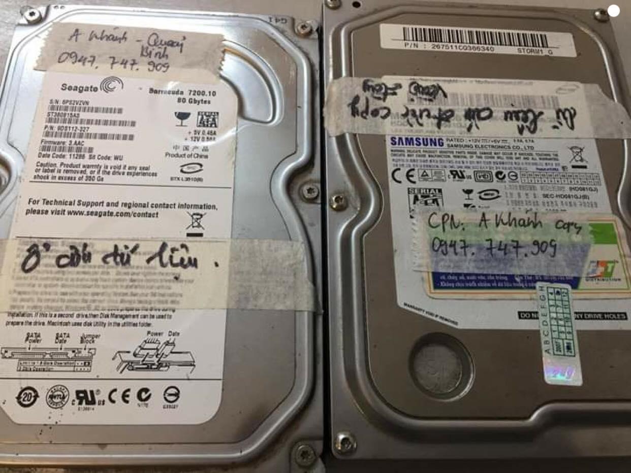 Cứu dữ liệu ổ cứng seagate 80GB đầu đọc kém 25/01/2019 - cuumaytinh