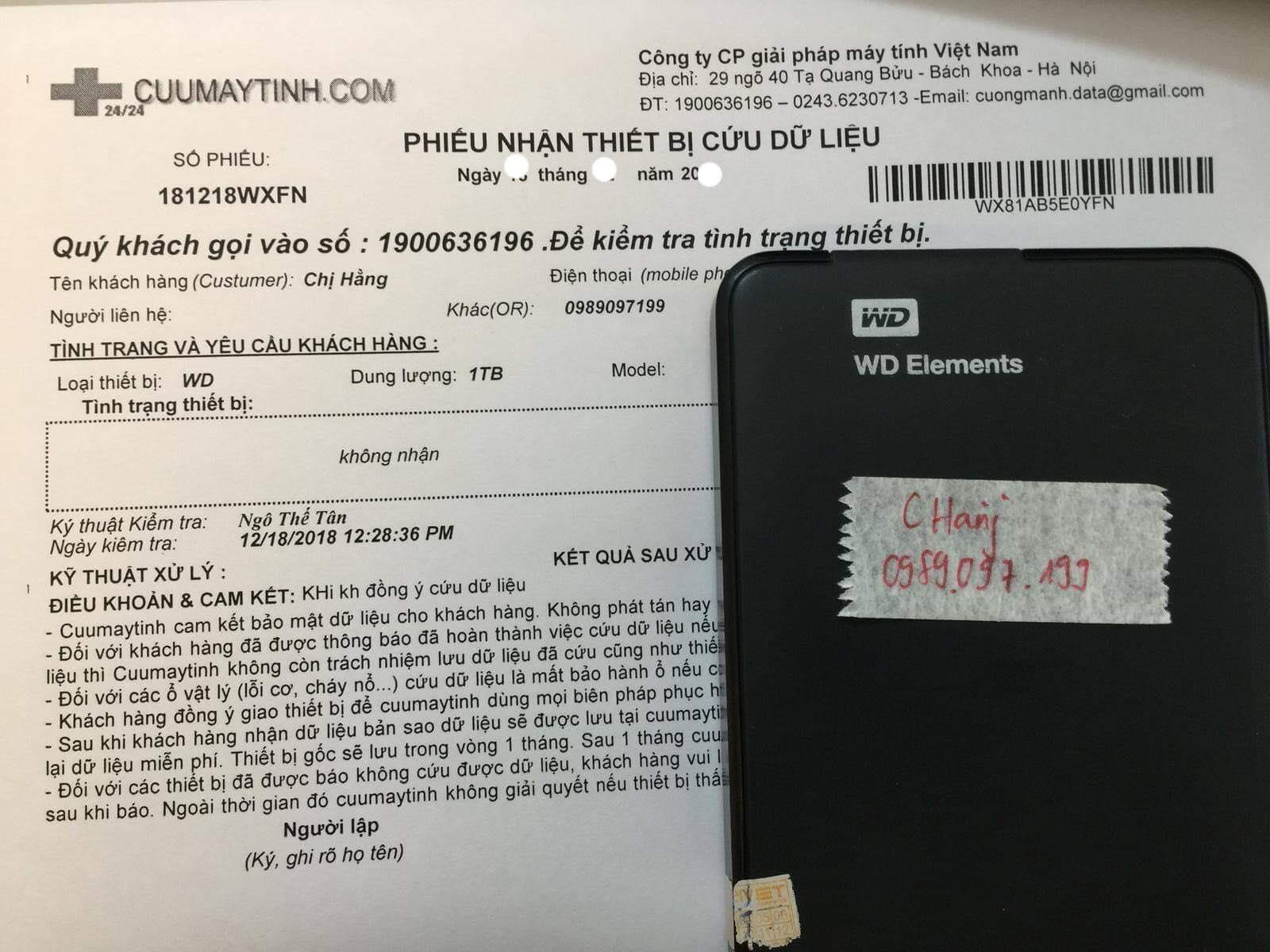 Cứu dữ liệu ổ cứng Western 1TB không nhận 21/01/2019 - cuumaytinh