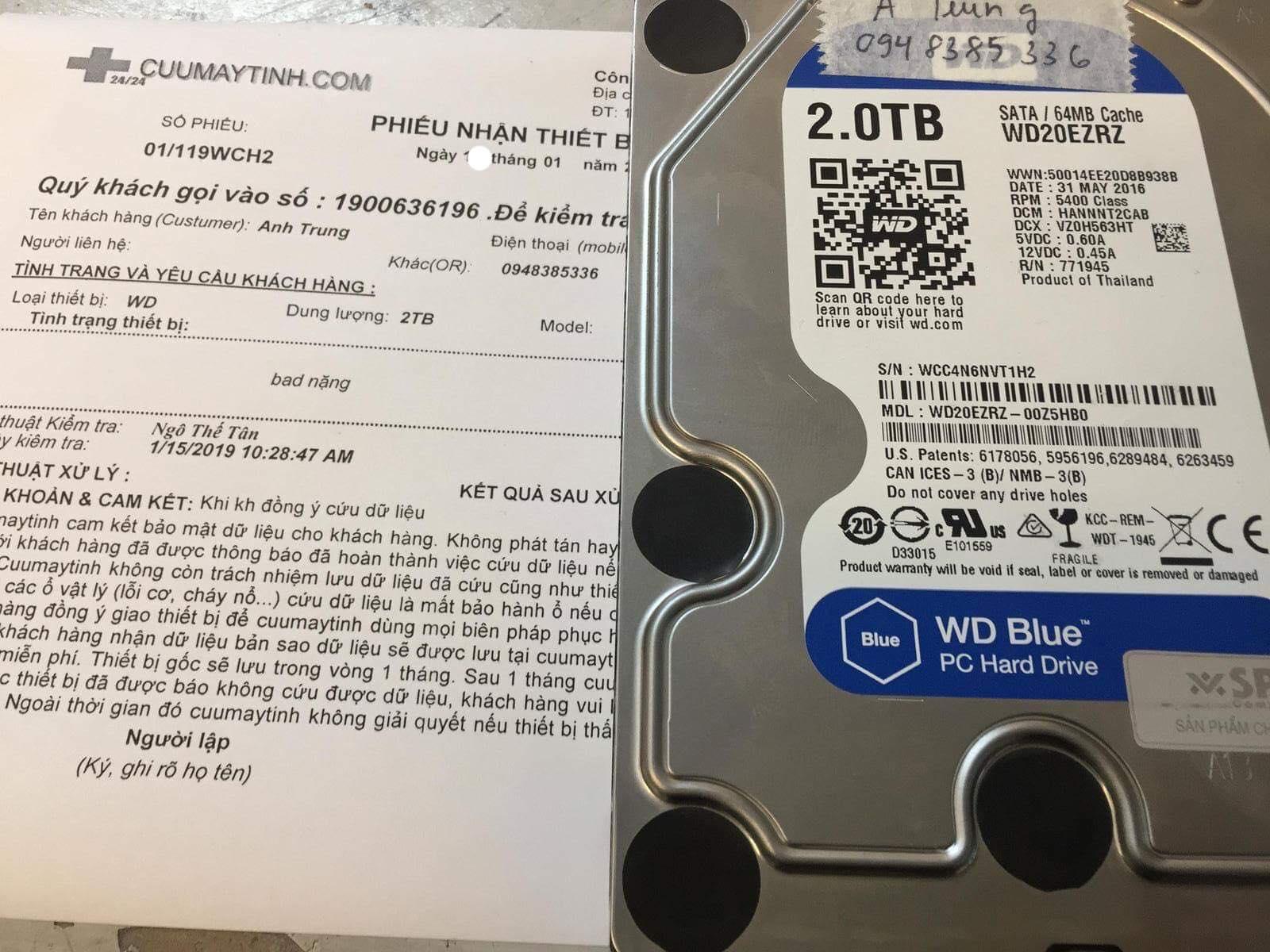 Lấy dữ liệu ổ cứng Western 2TB bad nặng 14/01/2019 - cuumaytinh