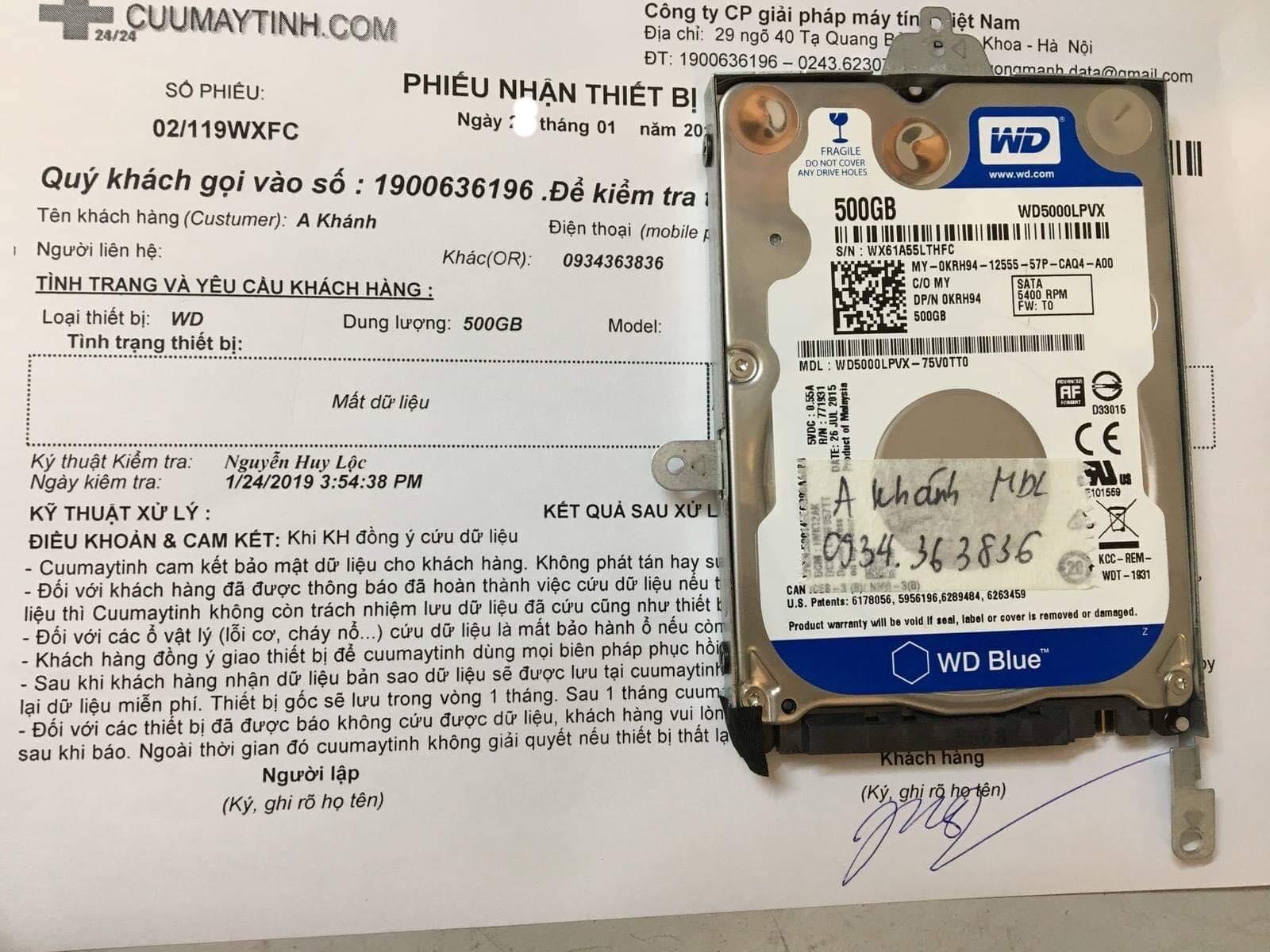 Lấy dữ liệu ổ cứng Western 500GB format nhầm 28/01/2019 - cuumaytinh