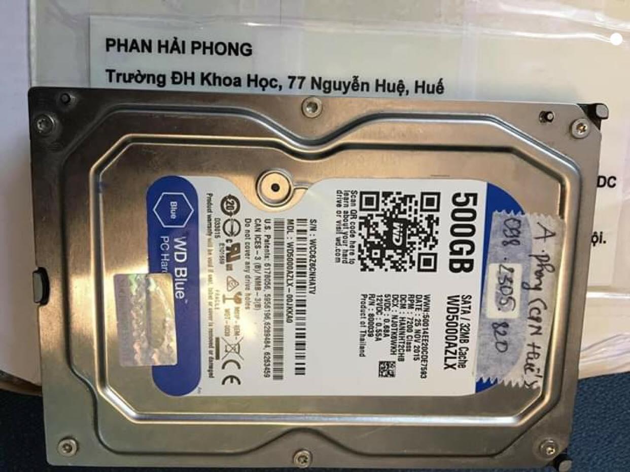 Lấy dữ liệu ổ cứng Western 500GB lỗi cơ tại Huế 26/01/2019 - cuumaytinh