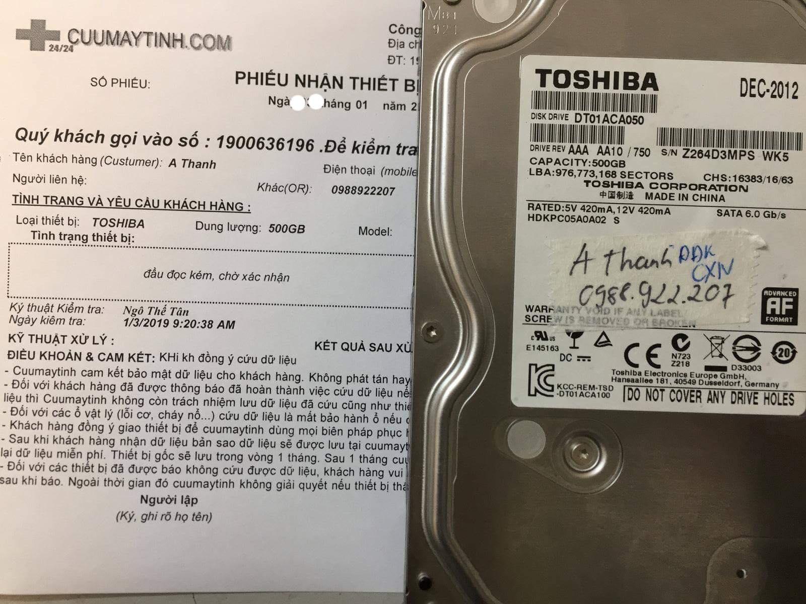 Lấy lại dữ liệu ổ cứng Toshiba 500GB không nhận 04/01/2019 - cuumaytinh