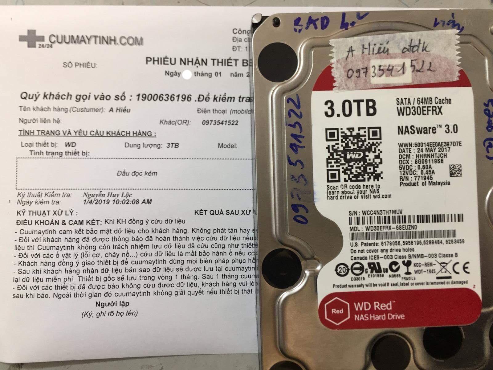Lấy lại dữ liệu ổ cứng Western 3TB đầu đọc kém 02/01/2019 - cuumaytinh