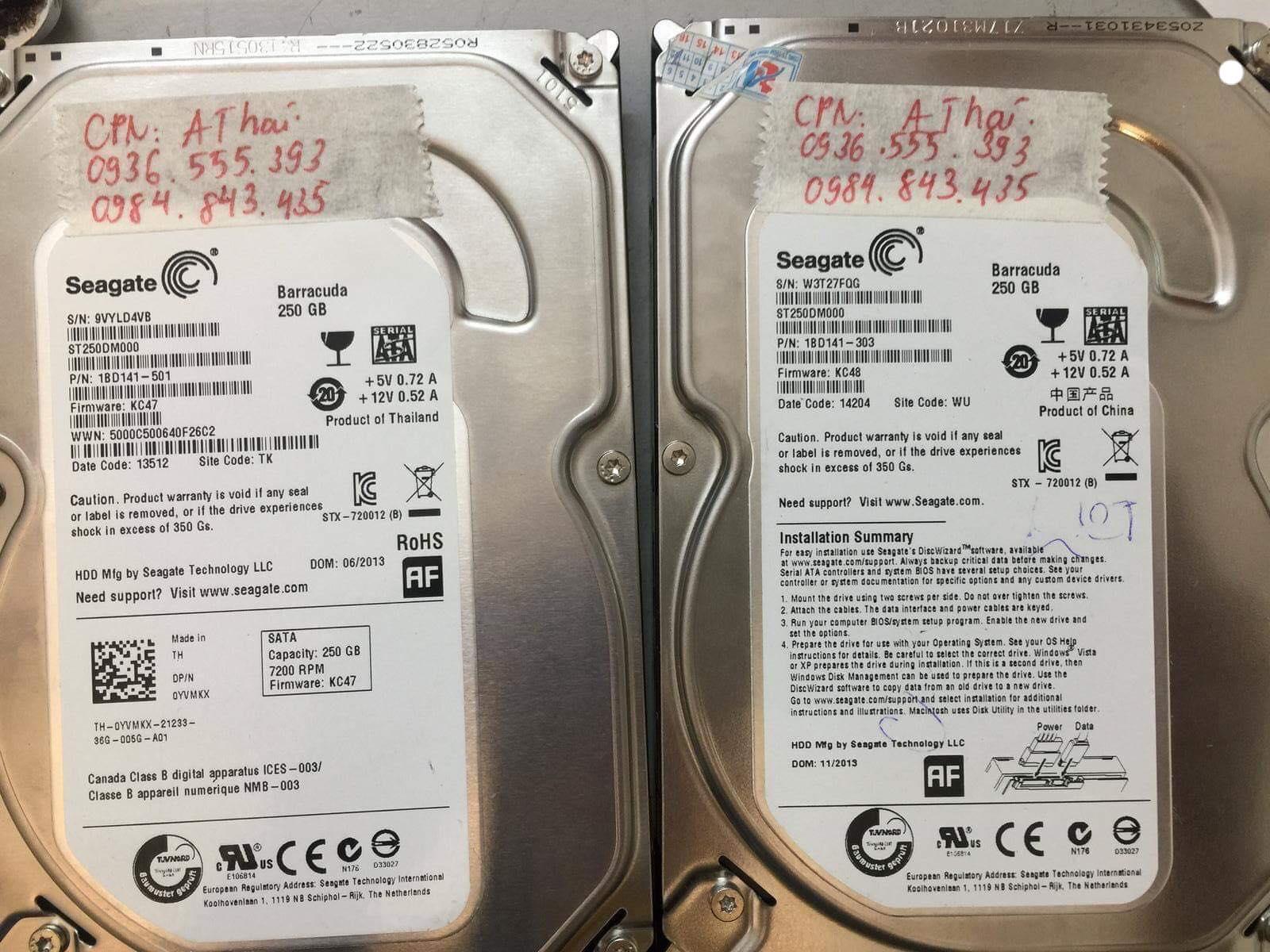 Phục hồi dữ liệu ổ cứng Seagate 250GB lỗi đầu đọc 25/12/2018 - cuumaytinh