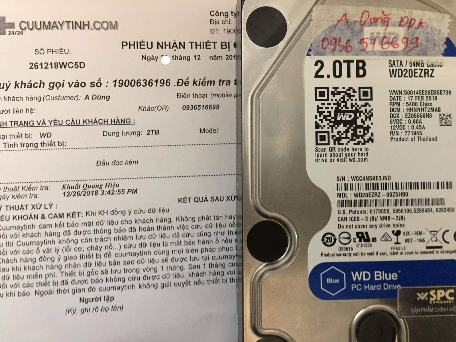 Phục hồi dữ liệu ổ cứng Western 2TB đầu đọc kém  28/12/2018 - cuumaytinh