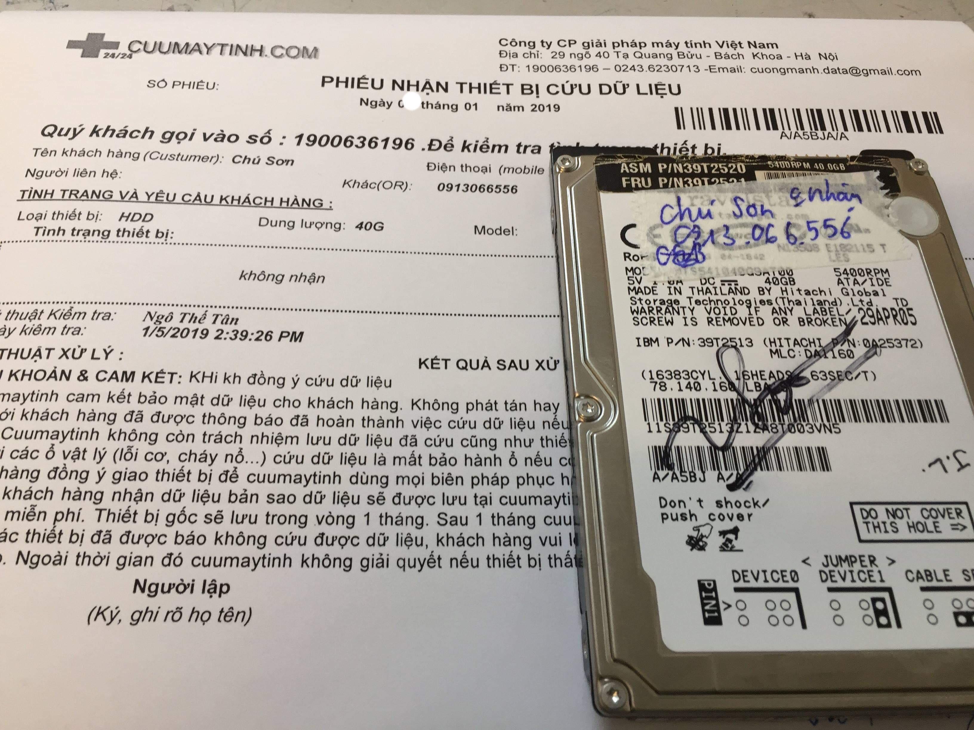 Phục hồi dữ liệu ổ cứng Hitachi 40GB không nhận - 12/01/2019