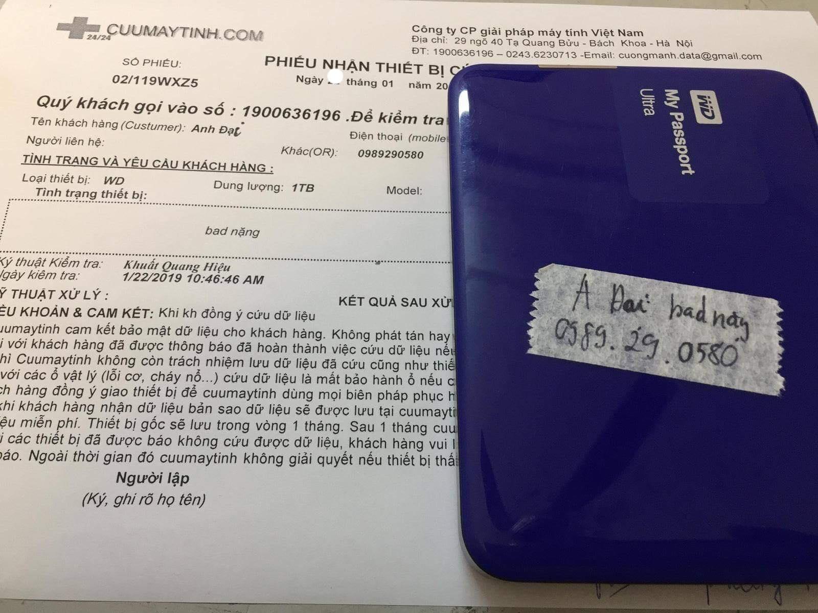 Lấy dữ liệu ổ cứng Western 1TB bad nặng 24/01/2019 - cuumaytinh