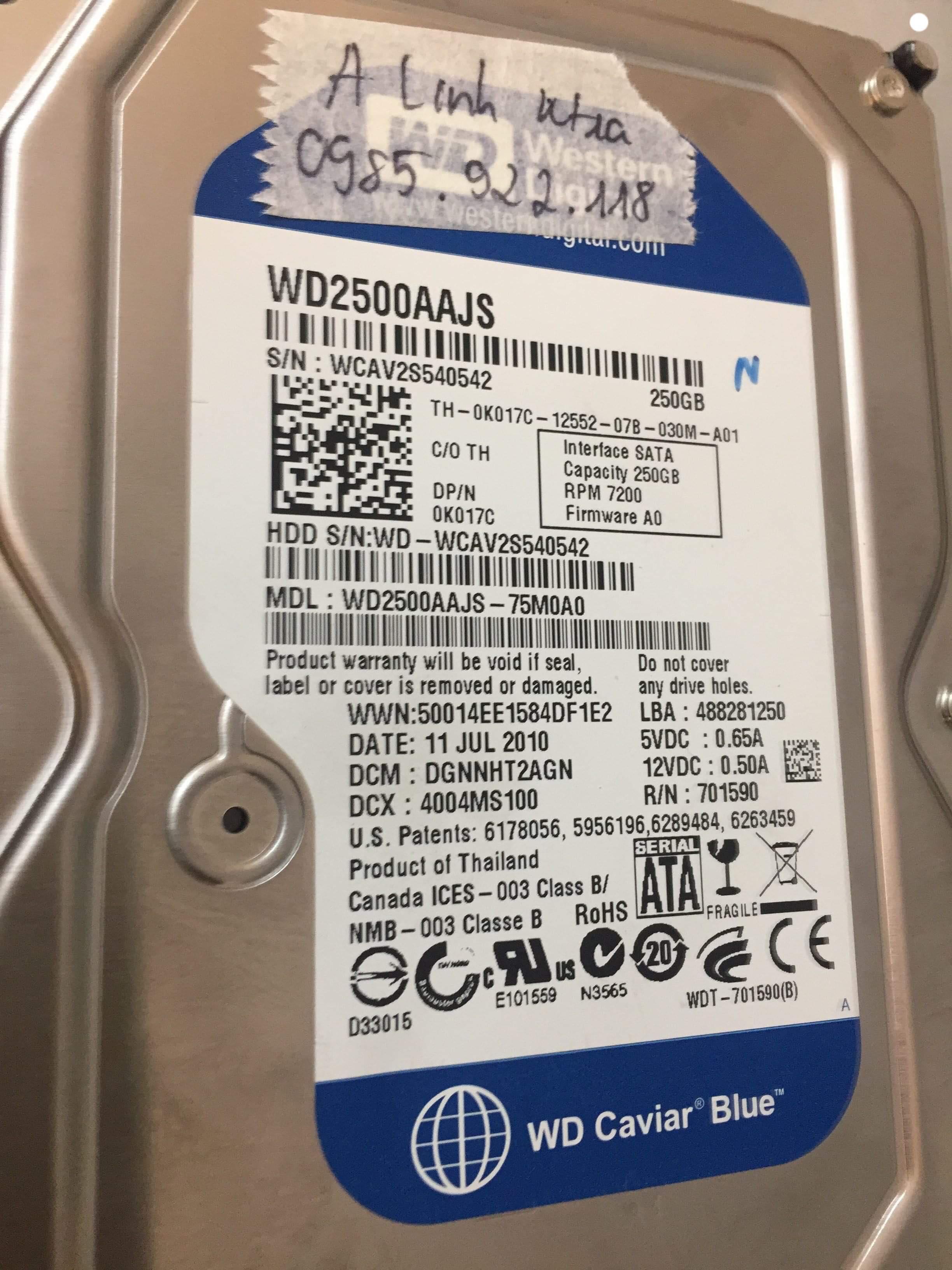 Cứu dữ liệu ổ cứng Western 250GB không nhận 08/01/2019 - cuumaytinh