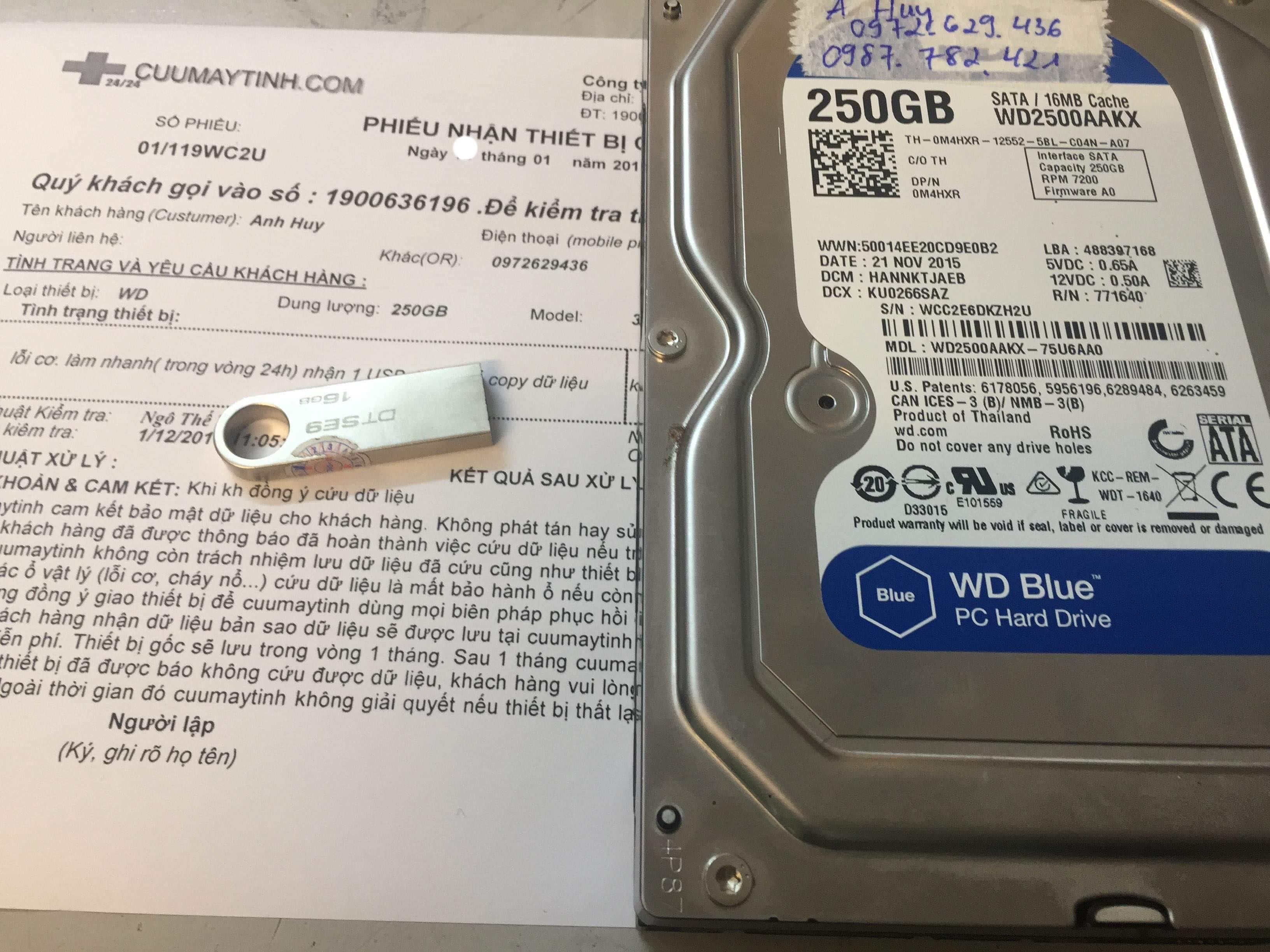 Cứu dữ liệu ổ cứng Western 250GB lỗi cơ 11/01/2019 - cuumaytinh