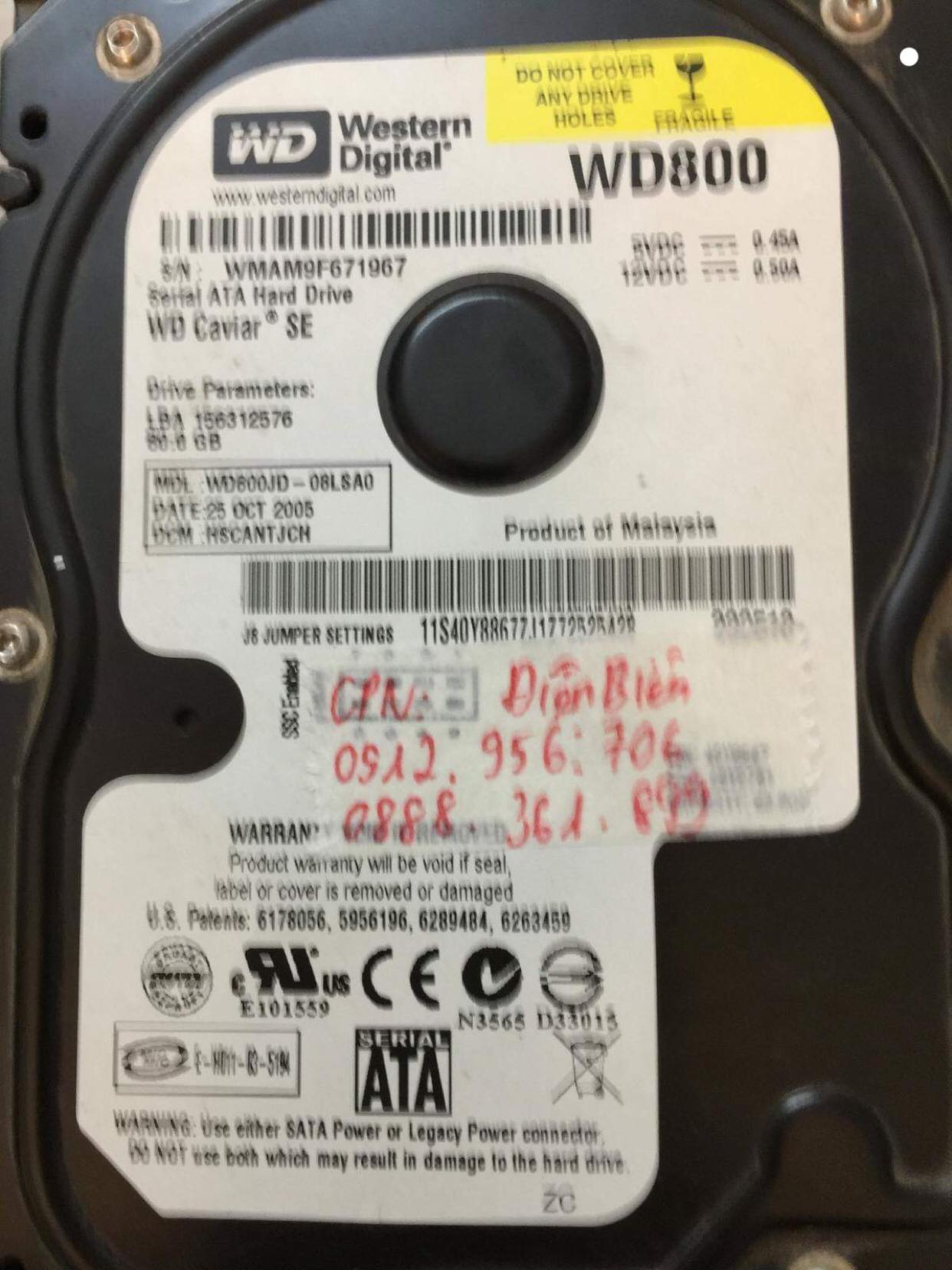 Cứu dữ liệu ổ cứng Western 80GB lỗi đầu đọc tại Điện Biên 25/12/218 - cuumaytinh