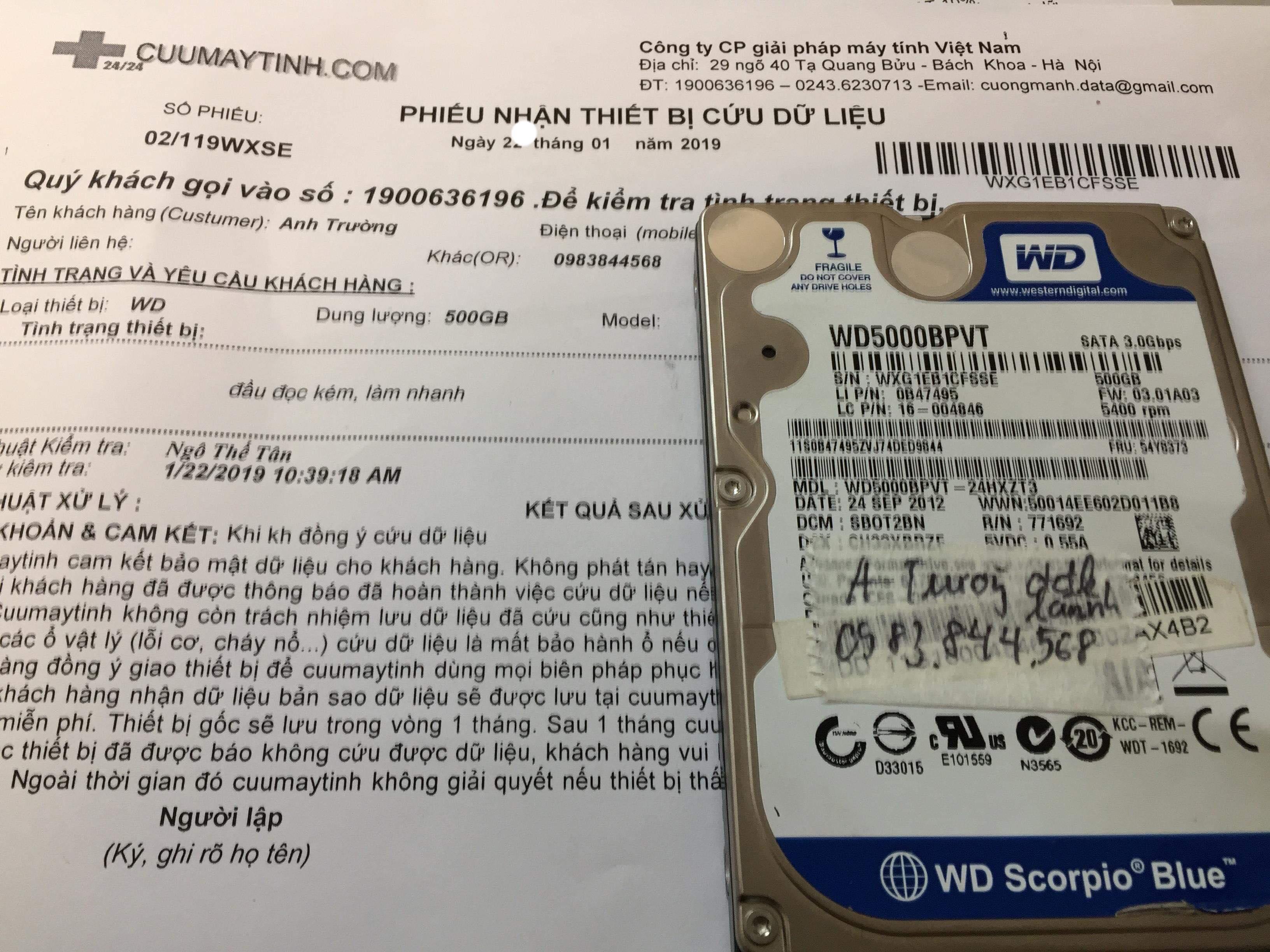 Cứu dữ liệu ổ cứng Western 500GB đầu đọc kém 23/01/2019 - cuumaytinh