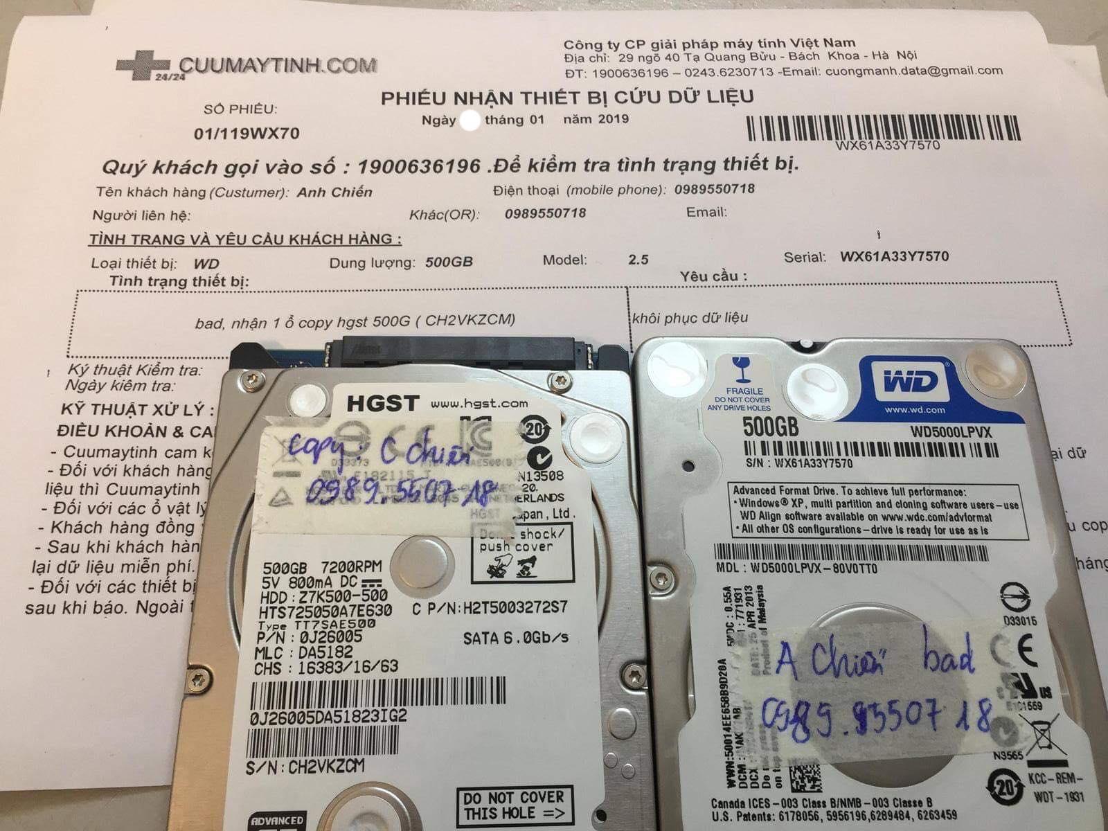 Phục hồi dữ liệu ổ cứng Western 500GB bad 21/01/2019 - cuumaytinh